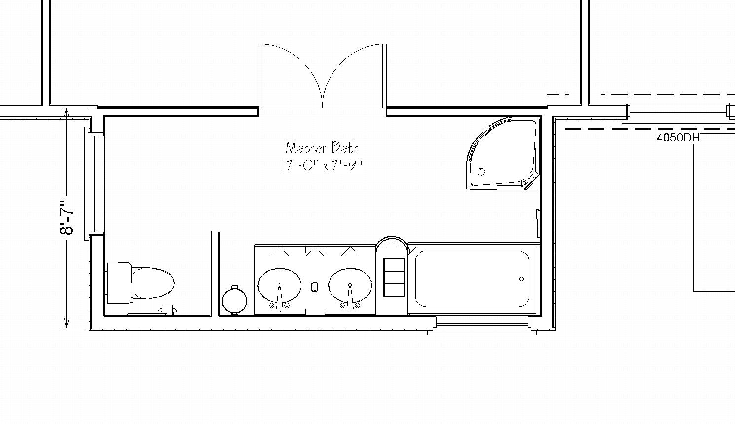 Master bath suite addition 17 by 8 extensions simply Bathroom blueprints for 8x10 space