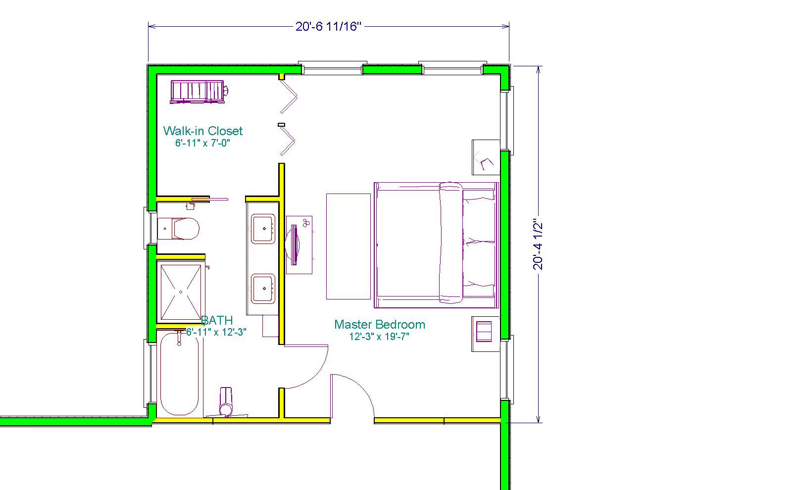 The executive master suite 400sq ft extensions simply for Small master bedroom plan