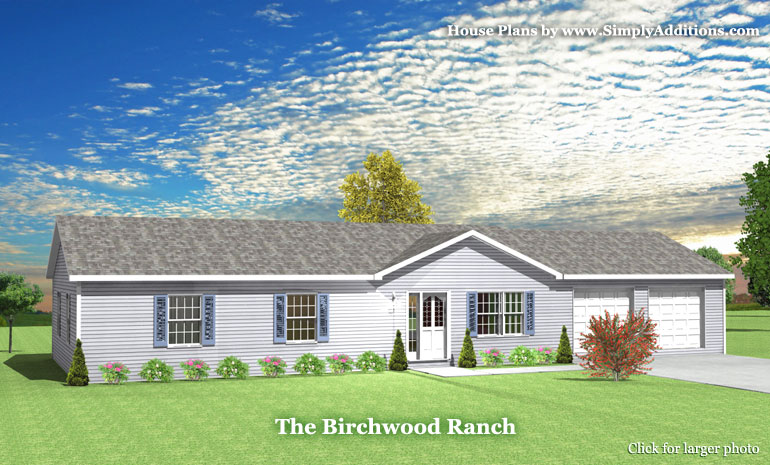 Birchwood modular ranch house plans for Ranch house kits