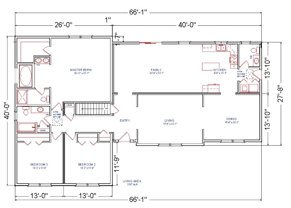 Brentwood modular ranch house for Ranch house blueprints