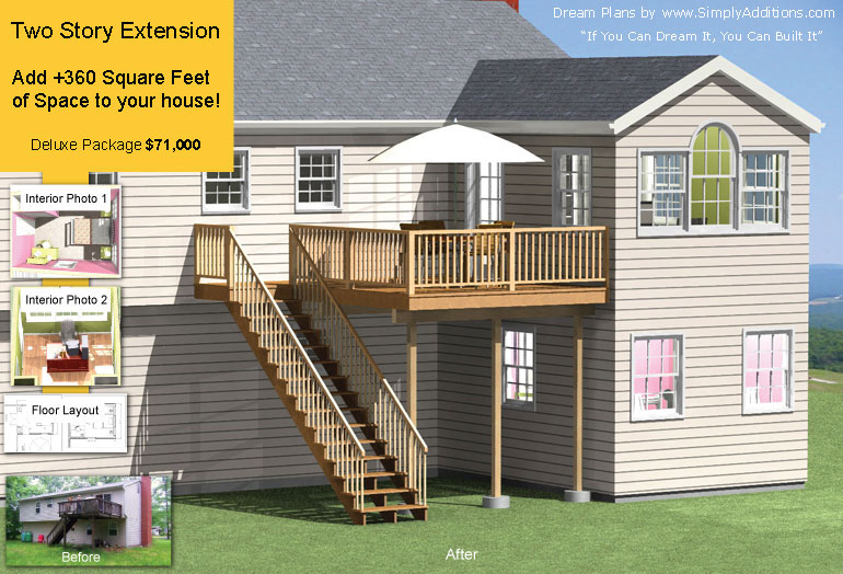 Home plans with second floor deck for Cost to build a 2 story house