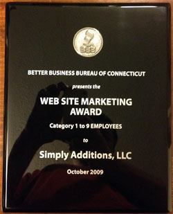 Excellence in Website Marketing Award Winners Simply Additions