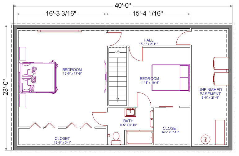Basement 2 Bedrooms 1 Bath Plans