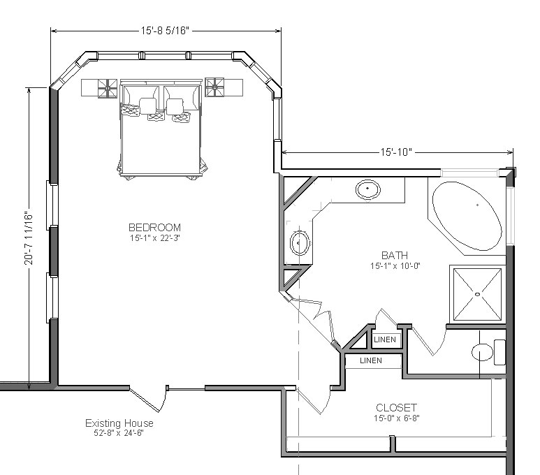 Master bedroom floor plans with bathroom addition www for Master bedroom and bath plans
