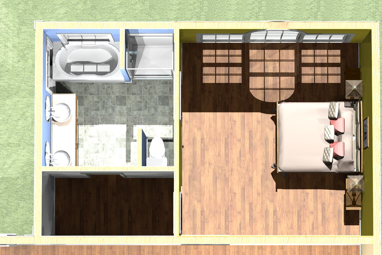 Master suite addition add a bedroom for Small master bedroom plan