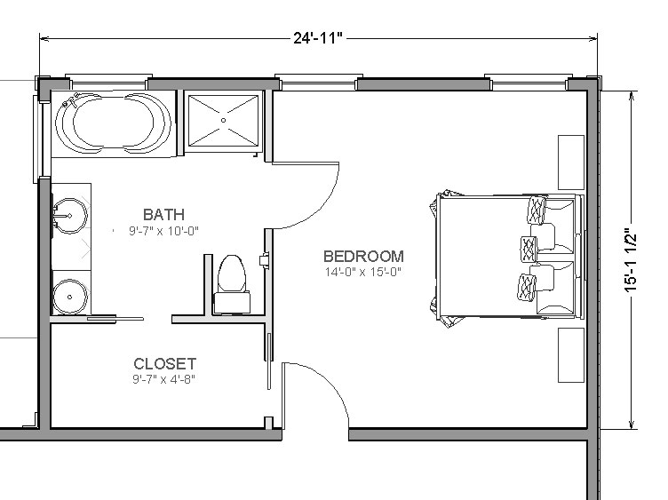 Master suite addition add a bedroom for Best master bathroom floor plans