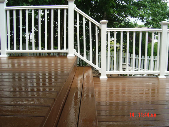 White Vinyl Railings for multi level deck