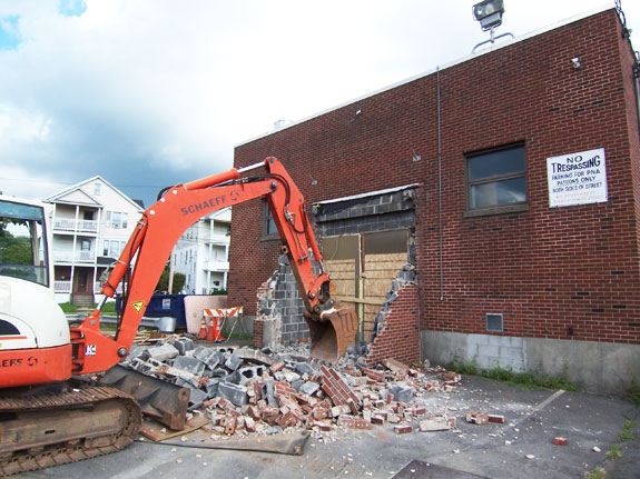 Excavator demolition began
