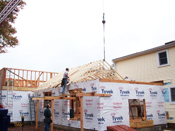 We had to crane our roof trusses