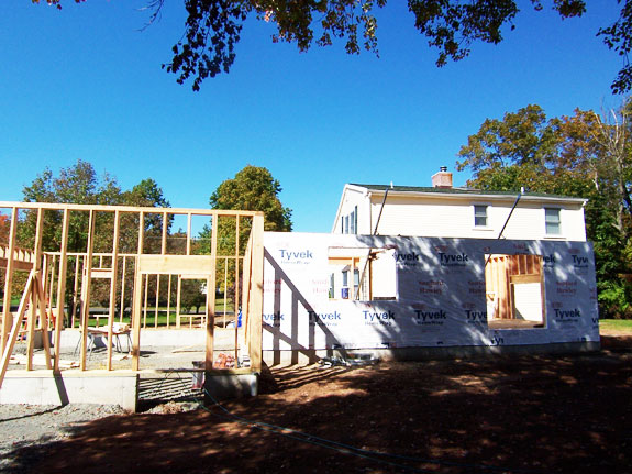 Framing the garage, family room addition in Wallingford, CT
