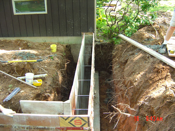 Concrete footers for rear addition