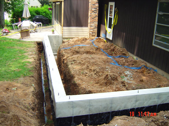Concrete footers are completed