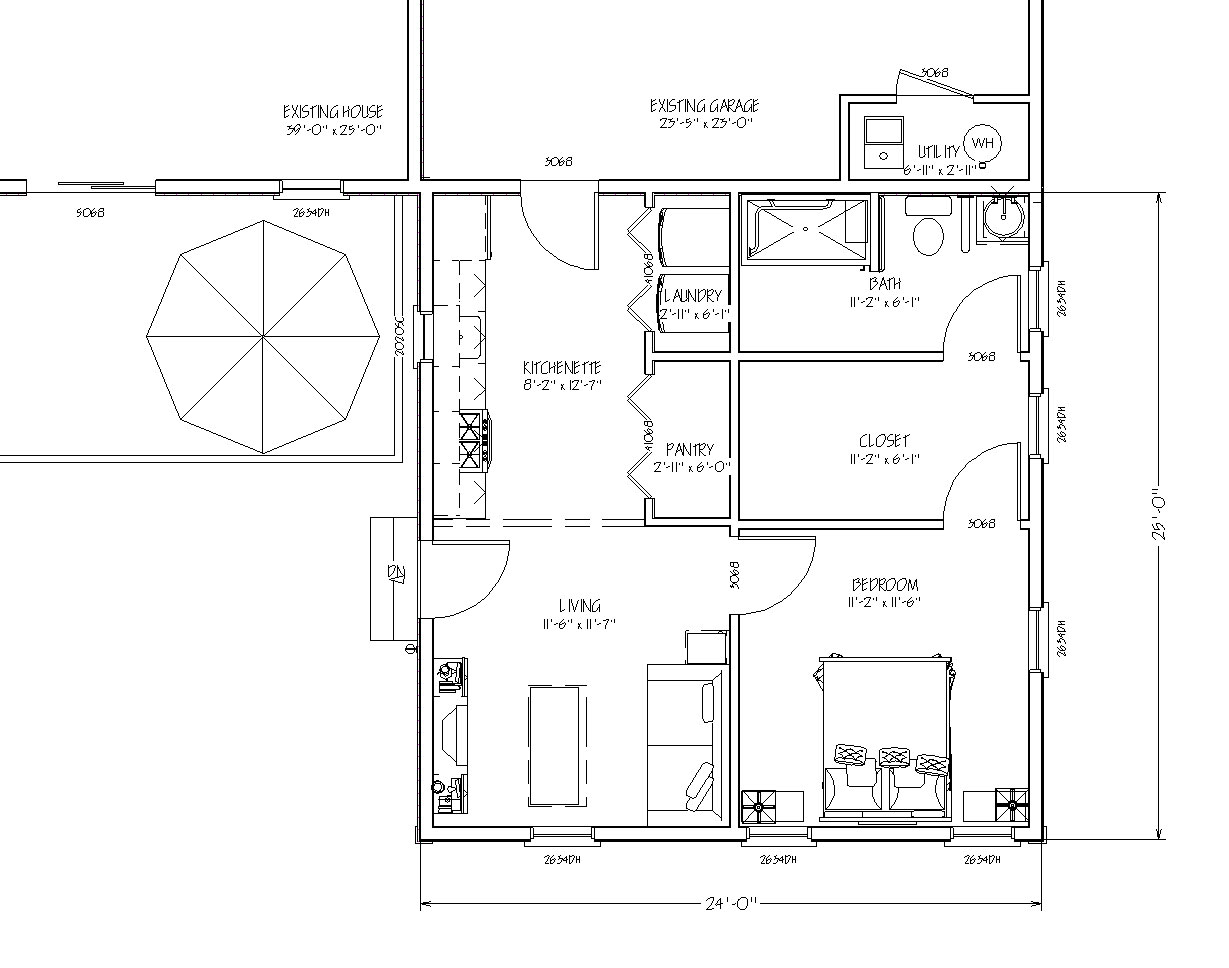 The in law apartment home addition for Blueprint home plans