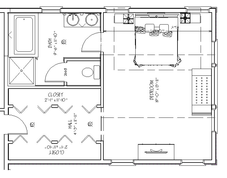 Blueprint View Of Master Suite Over Garage Addition Floor Plans