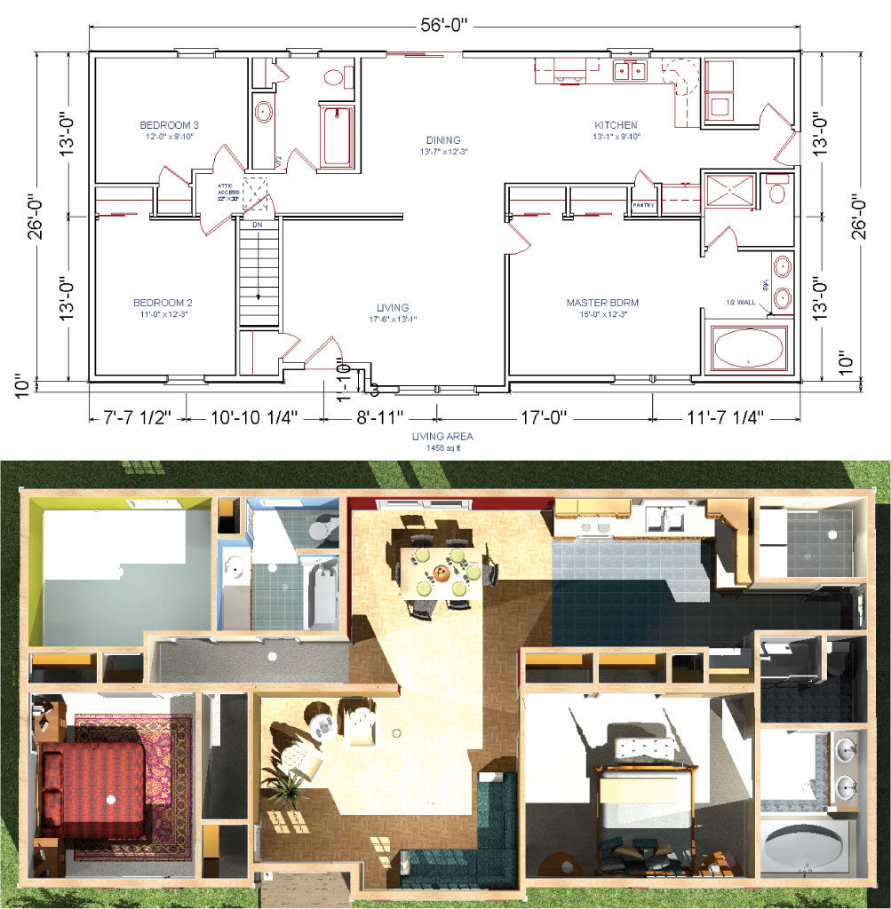 Livingston modular ranch home plan for Value house plans
