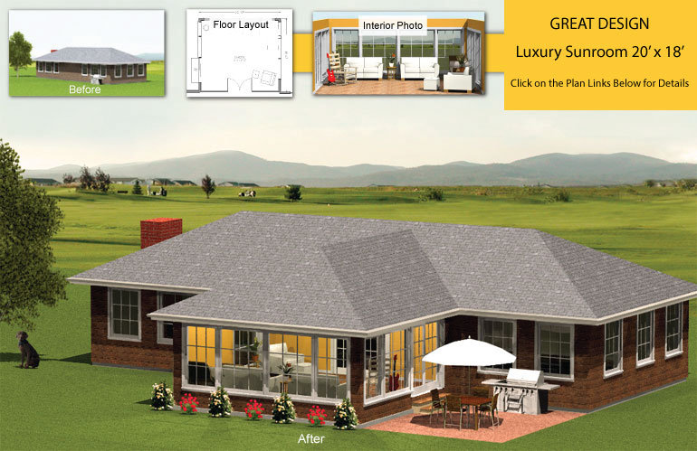 Premier four seasons sunroom addition 20 x 18 for House plans with sunroom