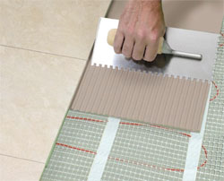 Tile installation with radiant floor heating