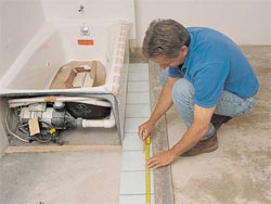 Measure the length and width of tile area